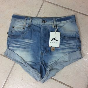 Rusty R Denim Shorts High Low Button Fly Broke In
